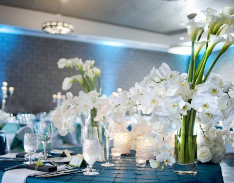 elegant table setting in white and blue